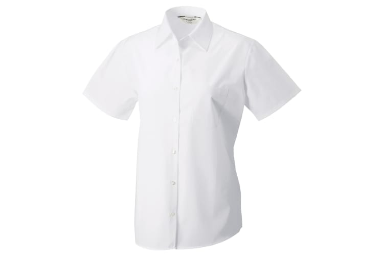Russell Collection Womens/Ladies Short Sleeve Pure Cotton Easy Care Poplin Shirt (White) (S)