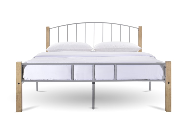 POLO King Metal Bed Frame w/ Solid Rubberwood Pole - Natural + Silver