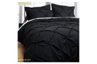 Puffy Quilt Cover Set Black SUPER KING