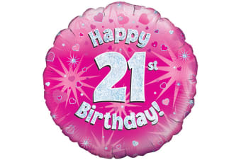 Oaktree 18 Inch Happy 21st Birthday Pink Holographic Balloon (Pink/Silver)