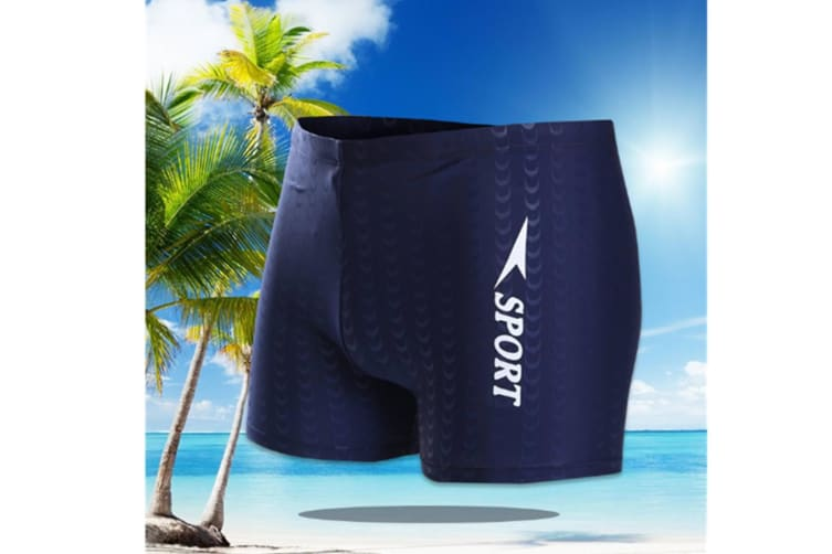 Men'S Square Leg Splice Jammer Swimming Shorts Swim Trunks Tights With Hat Blue 3Xl