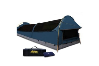 XXL King Single Canvas Camping Tent (Dark Blue)
