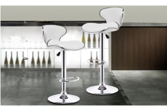 2x PU Leather Swivel Bar stool Gas Lift Adjustable White (ED0207)