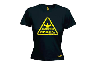 SWPS Gym Bodybuilding Tee - Construction In Progress - Black Womens T Shirt
