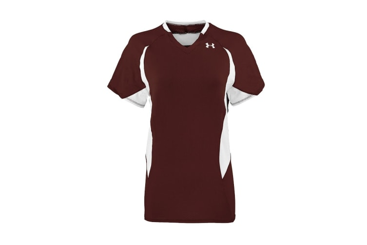 Under Armour Women's Power Performance Jersey T-Shirt (White/Maroon, Size S)