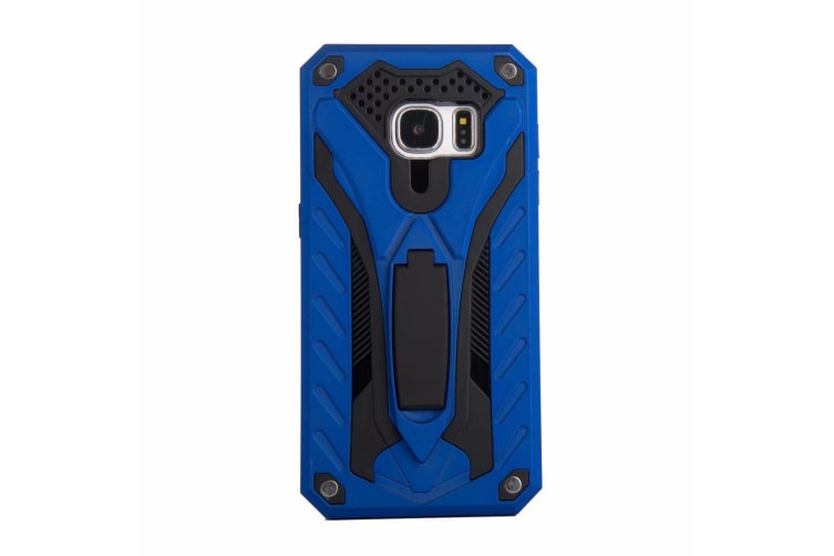 For Samsung Galaxy S7 Case  Armour Strong Shockproof Tough Cover Kickstand  Blue