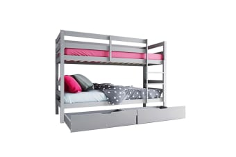 Cato 2-in-1 Timber Bunk Bed with Twin Drawers - Grey