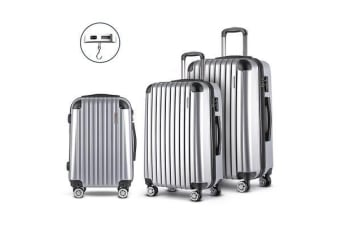 3 Piece Lightweight Hard Suit Case (Silver)