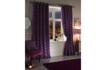 Emma Barclay Katie Velvet Touch Lined Curtains (One Pair) (Heather)