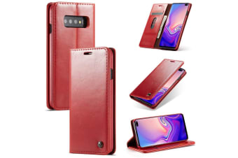 For Samsung Galaxy S10 Case  Red Wild Horse Texture Stand Flip Wallet Cover