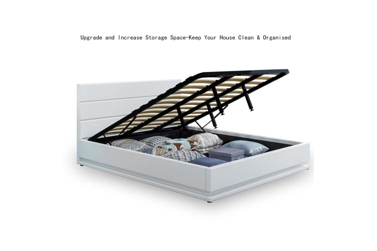 Modern White Leather Storage Bed Frame with LED   Queen