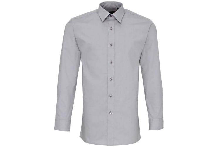 Premier Mens Long Sleeve Fitted Poplin Work Shirt (Silver) (14.5)