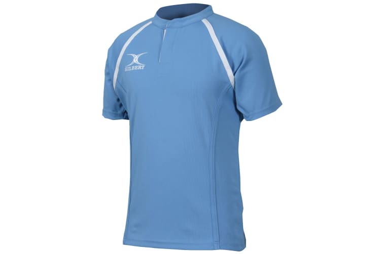 Gilbert Rugby Mens Xact Game Day Short Sleeved Rugby Shirt (Sky) (3XL)