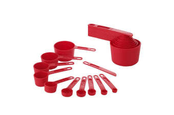 New Edge Design 11pc Measuring Cup Set Red Stackable Plastic Measure Spoon