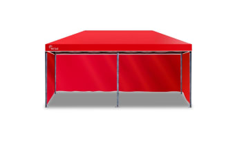 Red Track 3x6m Folding Gazebo Shade Outdoor RED Foldable Marquee Pop-Up