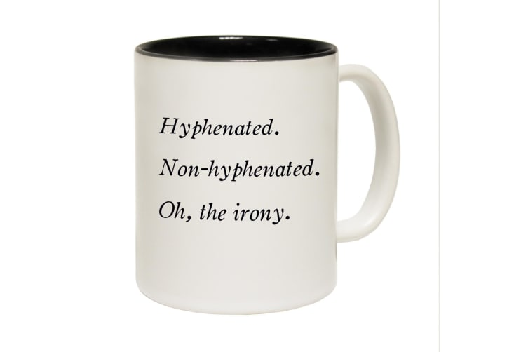 123T Funny Mugs - Hypheneted - Black Coffee Cup
