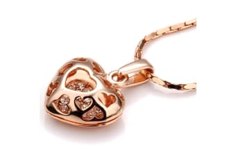 3D Heart Cage Pendant Necklace Rose Gold Embellished with Swarovski crystals
