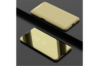 Mirror Cover Electroplate Clear Smart Kickstand For Oppo Series Gold Oppo R17