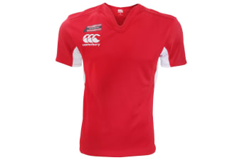 Canterbury Mens Challenge Short Sleeve Rugby Jersey Top (Red/White)
