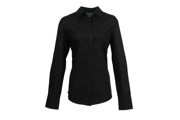 Premier Womens/Ladies Signature Oxford Long Sleeve Work Shirt (Black) (20)