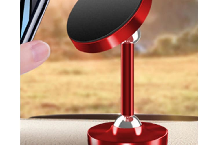 Select Mall Double Ball Car Phone Bracket Double Ball 720 Degree Rotating Paste Magnetic Mobile Phone Bracket-Red