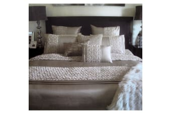 Sienna Taupe (Latte) Applique Quilt Cover Set Queen by Manhattan