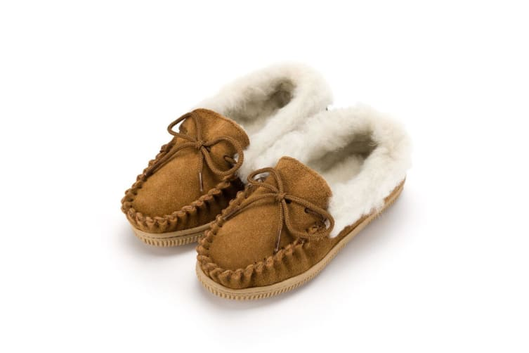 Eastern Counties Leather Childrens/Kids Wool-blend Lined Moccasin Slippers With Collar (Biscuit) (12 Child UK)