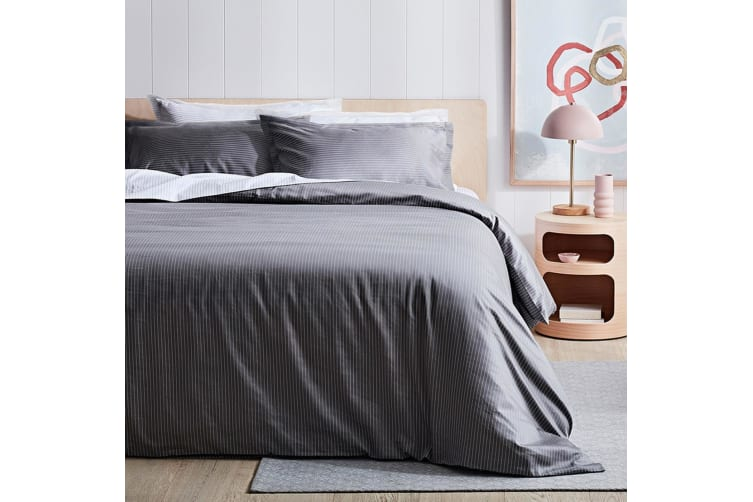Canningvale 1000TC Quilt Cover Set - Single Bed - Palazzo Linea  French Grey with Crisp White Stripe