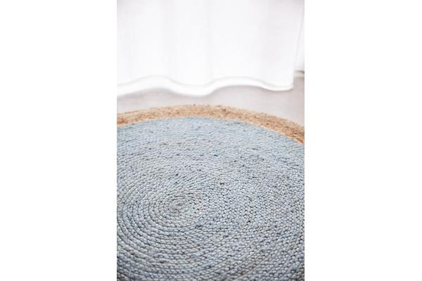 Round Jute Natural Rug Blue 240x240cm