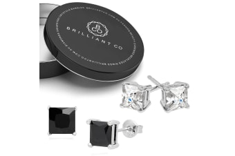 2pc Gift Set Princess Cut Simulated Diamond Earrings-White Gold/Clear & Black