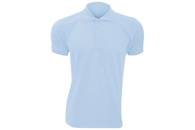SOLs Mens Prime Pique Plain Short Sleeve Polo Shirt (Sky Blue) (XL)