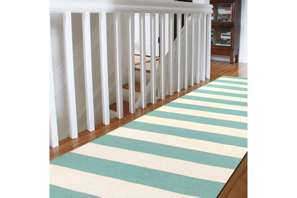 Flat Weave Stripe Light Blue White Rug 300x80cm