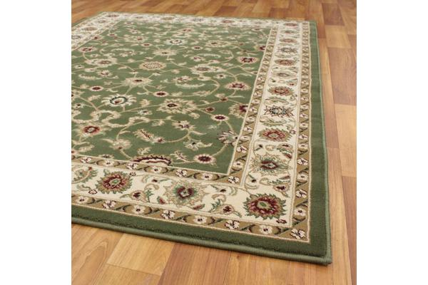 Classic Rug Green with Ivory Border 400x300cm
