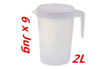 6 x Plastic Pitcher 2L with Lid Beer Water Juice Jugs Jug BPA FREE Dishwasher Safe