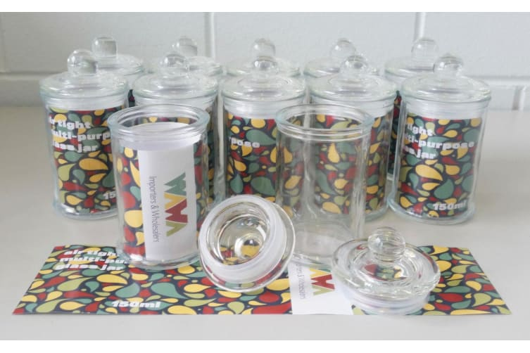 90 x Glass Apothecary Candy Jar with Lid, for Candy & Candle Waxing - Mini 150ml