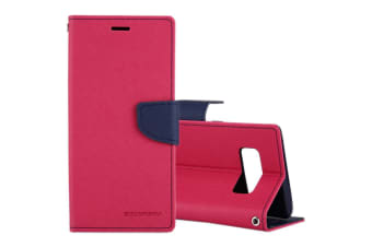 For Samsung Galaxy Note 8 Wallet Case Cross Texture PU Leather Cover Magenta