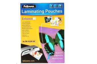 FELLOWES 53061 LAMINATING POUCH A4 100PK 80 MICRON