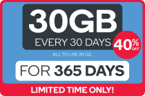 Kogan Mobile Broadband Voucher Code: DATA M (30GB | 365 DAYS Per 30 Days)