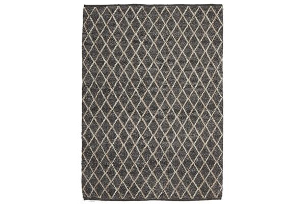 Luxury Madras Felted Wool Rug Blue Charcoal 320X230cm