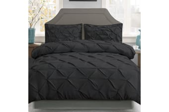 Giselle Cotton Quilt Cover Set Queen Bed Pinch Pleat Diamond Duvet Doona Black