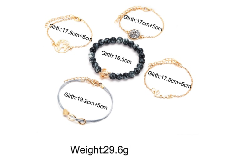 5Pcs Map Tortoise Bead Chain Loving Eight-Character Bracelet Suite Gold