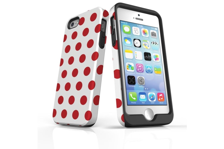 For iPhone 5  5S & SE Protective Case Unique Phone Cover  Red Polka Dots