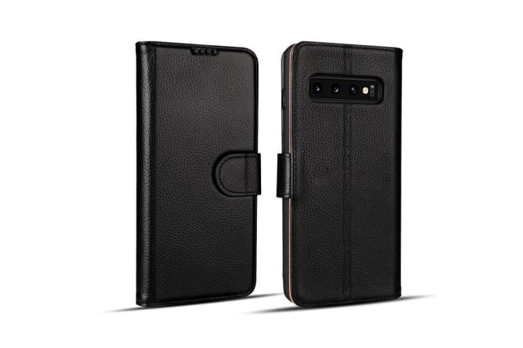 For Samsung Galaxy S10 Case  Black Fashion Cowhide Genuine Leather Wallet Cover