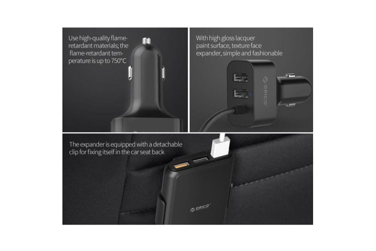 Orico UCP-5P Black 52W 5 Port USB Car Charger w/ Extension Cord for iPhone
