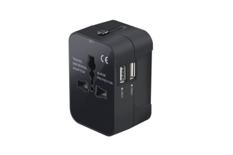 International All In One International Travel Adapter Power Charger With Dual Usb Charging Ports