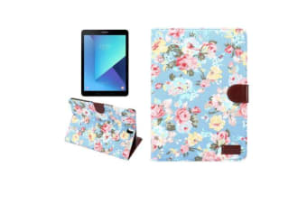 For Samsung Galaxy Tab S3 SM-T810 815 Wallet Case Flower Patterned Cover Blue