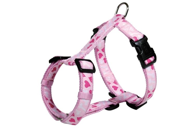 Trixie Modern Art H-Harness Rose Heart For Dogs (Pink) (XS–S)