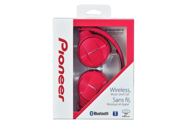 Pioneer SEMJ553BT Red Bluetooth On-ear Wireless Headphones/Mic for Smartphones