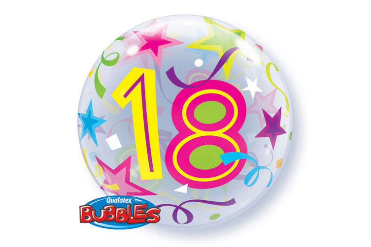 Qualatex 22 Inch Single Age 18 Star Pattern Birthday Bubble Balloon (Clear/Multicoloured) (One Size)