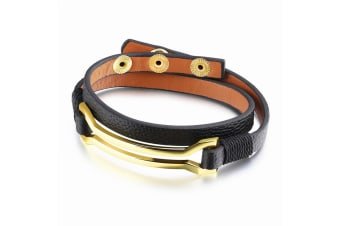Border Leather Wrap Bracelet-Leather/Black